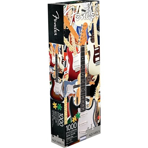 Fender Custom Guitar's famous Stratocaster guitars are featured in this slim 1000 piece jigsaw puzzle.  http://www.calendars.com/Guitars/Fender-Custom-Guitar-Slim-1000-Piece-Puzzle/prod201300010057/?categoryId=cat00086=cat00086