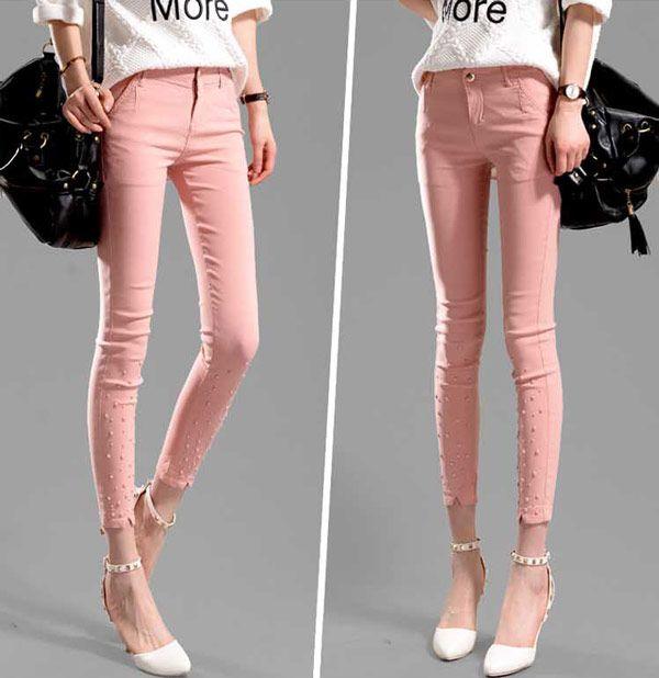 Celana Ketat Wanita Katun Stretch Pink 200K