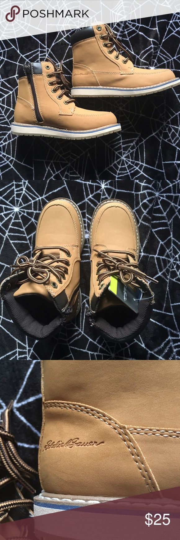 NWT Eddie Bauer Tan Boots Kids Sz 1 NWT Eddie Bauer brand kids shoes. They are a timberland style boot with a zip for easy access. Size 1. Eddie Bauer Shoes Boots