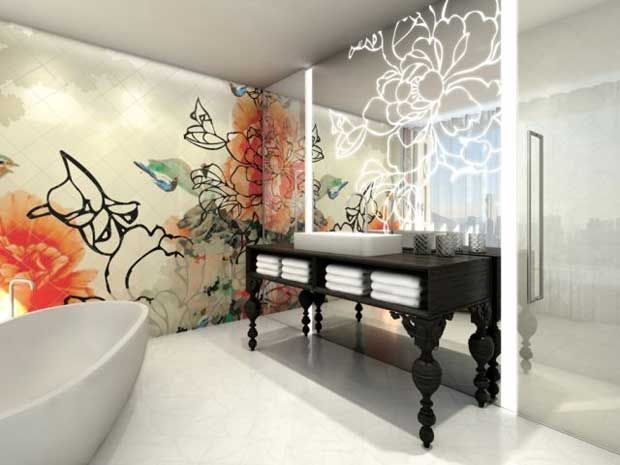 Bisazza Mosaic Tiles And Lighted Patterned Mirrors At Mira Moon Hotel In Hong  Kong | Paint