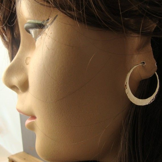 solid 14k gold hoops 1 inch endless style hammered by 2TrickPony, $435.00