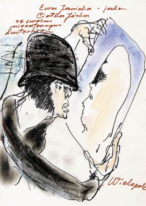 """SZKIC do spektaklu """"Wielopole"""", ok. 1  Autor:Kantor Tadeusz (1915 - 1990) Rozmiary:29.6 x 21.4 cm Technika:flamaster, pastel, gwasz, papier Opis:napis ręką autora brązowym flamastrem g.: Ewa Janicka – jako   Ciotka Józka   ze swoim   nieodłącznym   lusterkiem, p.d.: Wielopole"""