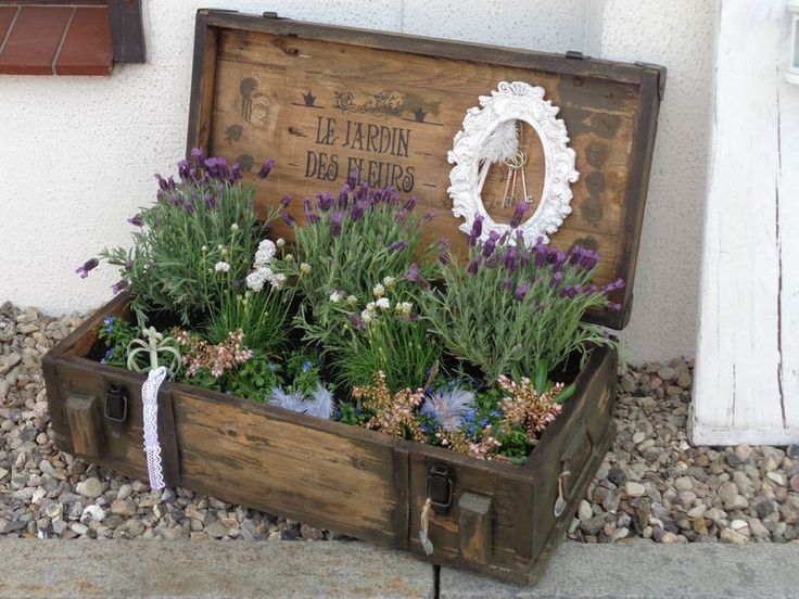 "~ old wooden box ~ box ~ with decorative frame and heart planter ""Fairy Garden"""