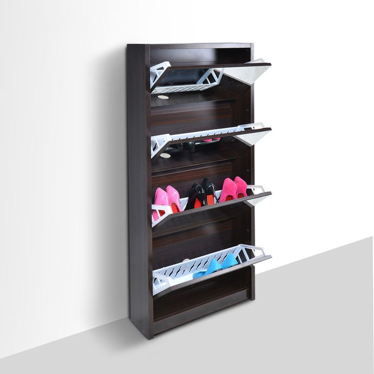 Space saving 4 door black portable mirrored shoe rack cabinet closet organizer storage home dorm - Shoe cabinet for small spaces concept ...