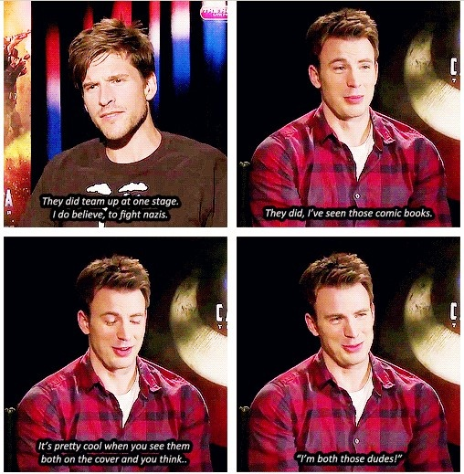 Chris Evans on being both the Human Torch and Captain America  http://emilianadarling.tumblr.com/post/25202537865/thunderforhire-chris-on-playing-both-captain
