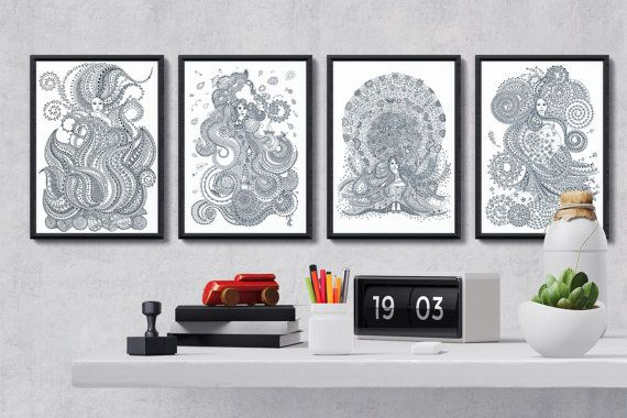 Four mythical elements collection - 4 posters