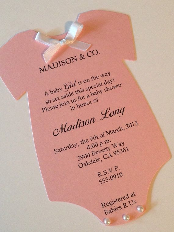 Pearl Pink Onesie Baby Shower Invitations by thepartypapersupply