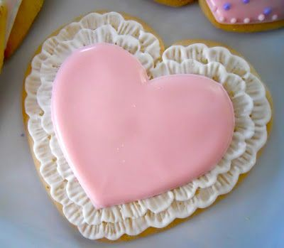 Pink Lace Heart Decorated Cookies #valentines #day