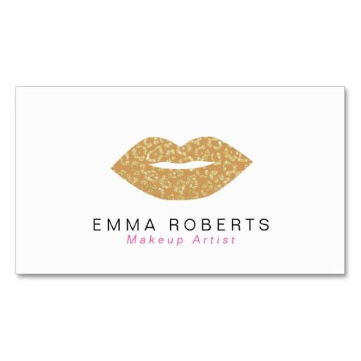 435 best business card ideas images on pinterest card ideas makeup artist chic gold leopard print lips business card reheart Images