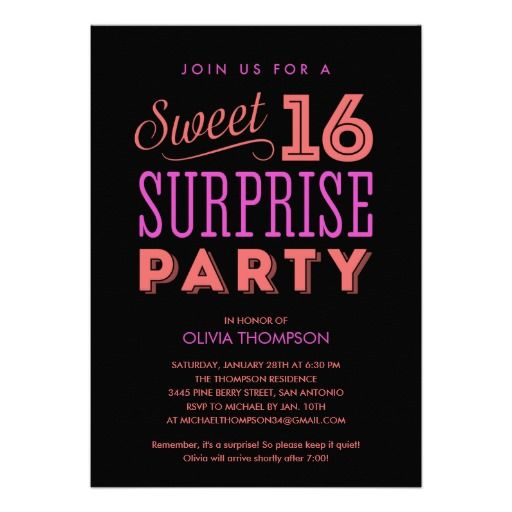 287 best Sweet 16 images – 16th Birthday Party Invitation Wording