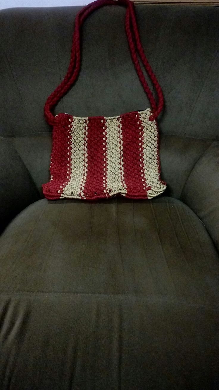 Red and cream hand bag