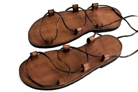 Jesus-Sandalen aus Leder - Kamel