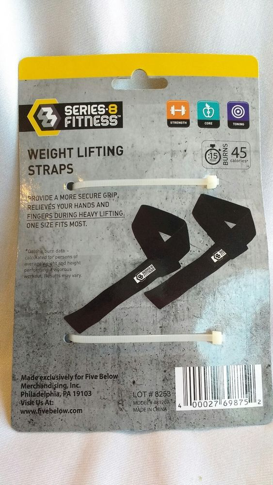 New Series 8 Fitness Weight Lifting Straps Black One Pair One Size Fits Most #Series8Fitness