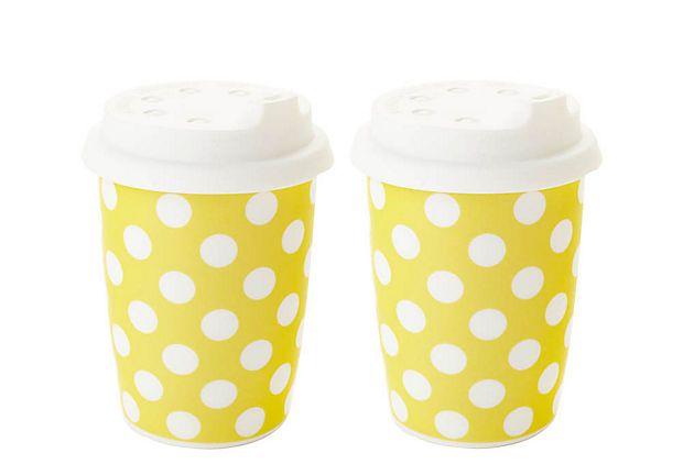 Set of 2 Small Travel Mugs, Yellow  CLASSIC COFFEE & TEA: Travel Mugs, Polka Dots, Mugs Set, Yellow Polka, Mornings Coffee, Coffee And Teas, Coffee Cups, Small Travel, Yellow Classic