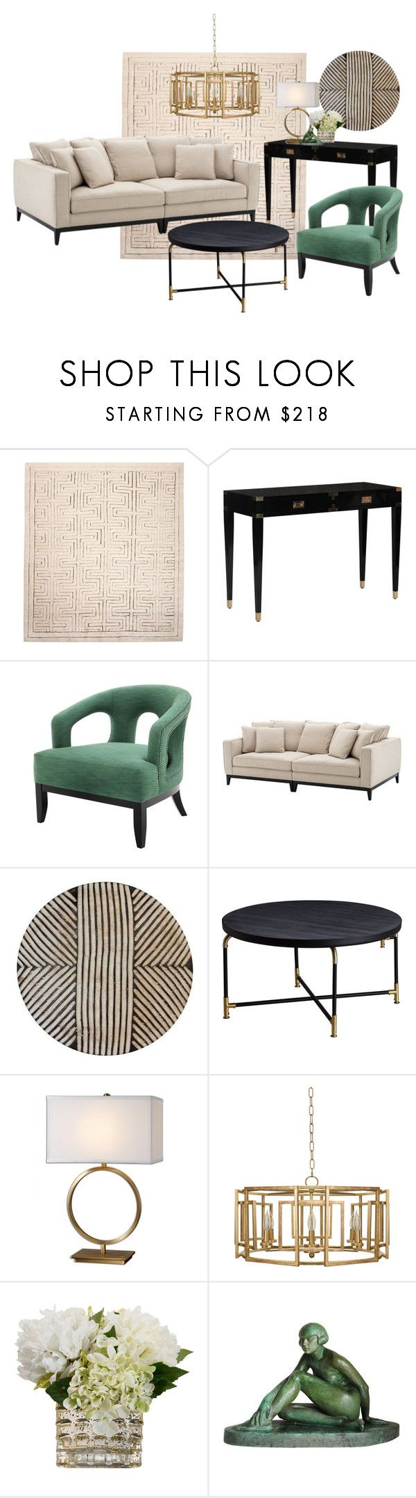"""Emerald & Gold"" by sally-w on Polyvore featuring interior, interiors, interior design, home, home decor, interior decorating, Selamat and Eichholtz"