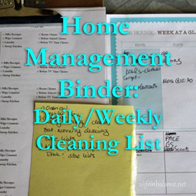 home management binder: daily/weekly cleaning/task lists