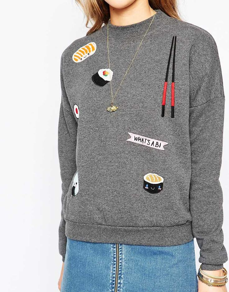 Image 3 ofPull&Bear Sushi Embroidered Sweatshirt