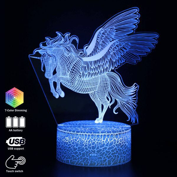 Us 10 98 3d Illusion Unicorn Desk Lamp Touching Led Night Light Home Room Rainbow Horse Lampen Decoration Crea Led Night Light 3d Illusions 3d Illusion Lamp