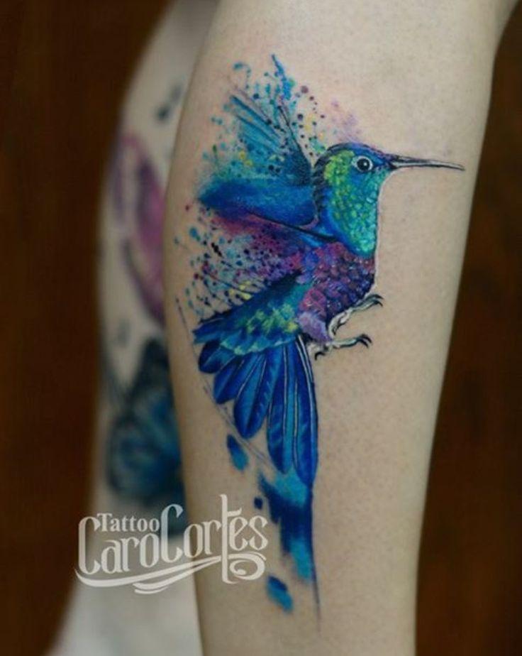 Caro Cortes watercolor bird tattoo