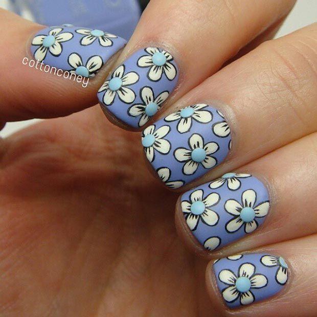 Matte Flower Nail Design for Short Nails