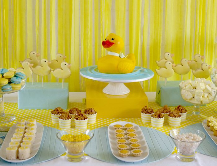 Rubber Duck Birthday Party (dessert table)