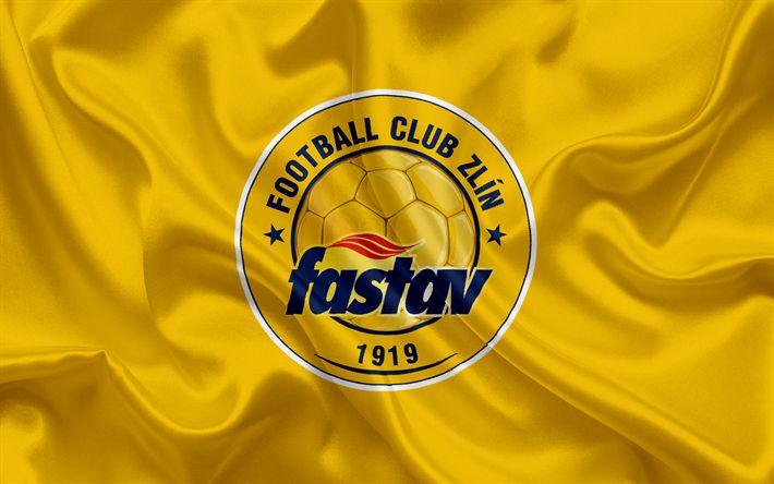 Descargar fondos de pantalla Fastav Zlin, club de Fútbol, de Zlin, República checa, emblema, Fastav Zlin logotipo de seda amarilla de la bandera checa campeonato de fútbol