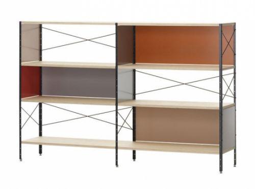 Hylla Eames Storage Unit 3 med ram i puderlackerat stål, hyllor i plywoodoch björkfa...
