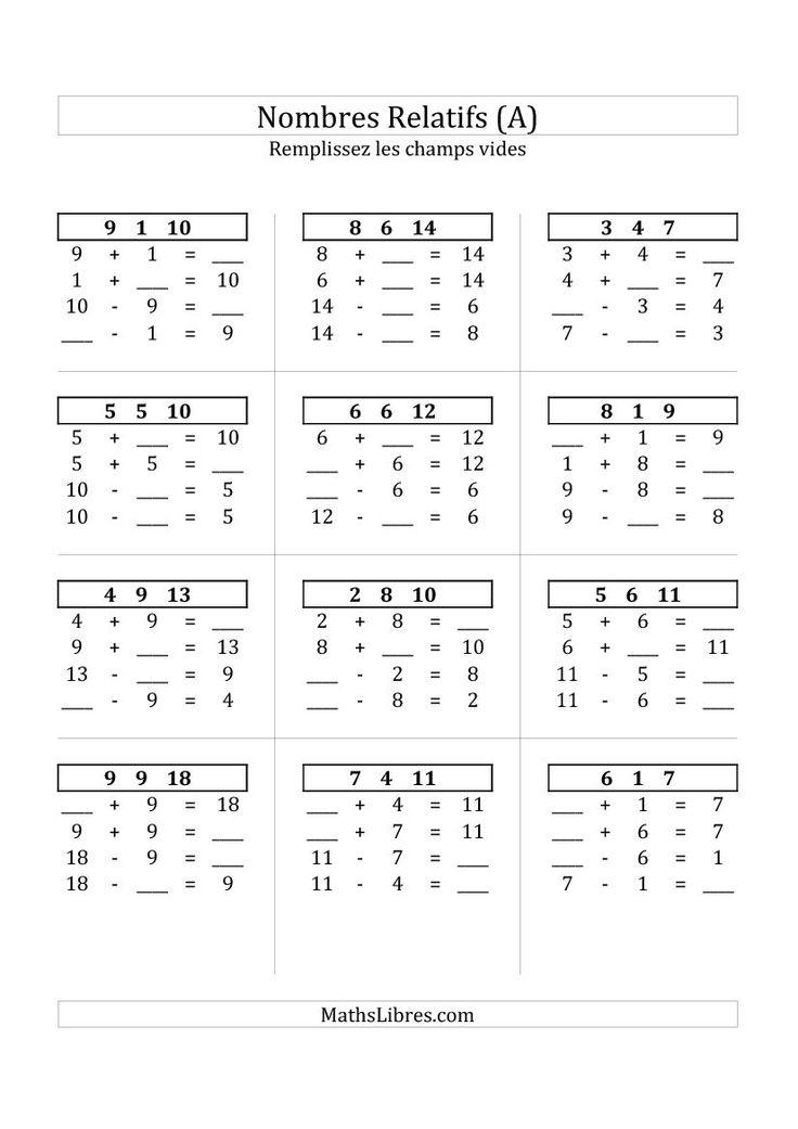 161 best nouvelles fiches d 39 exercices - Exercices tables d addition ce1 ...