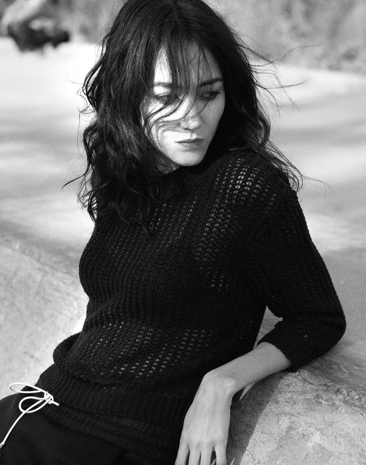 Editorial photoshoot   Photographer :Owen Bruce  Muse: Sandrine Holt, Actress and Model Stylist: Matthew Simonell Spring 2014, Sweaters, Knit, FOXX+WALSH  Style Name : Sandro , Color: Black White , mesh knitwear,  New York Chic Gorgeous