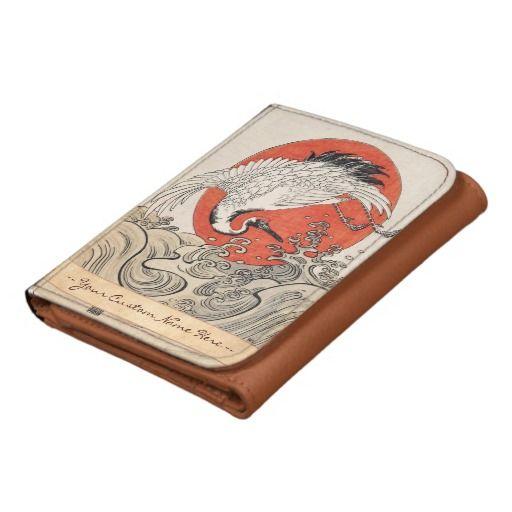 Isoda Koryusai Crane Waves and rising sun vintage Trifold Wallet