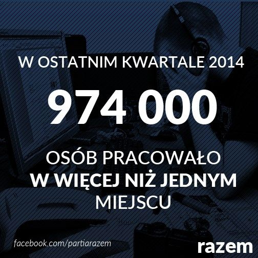 >> W ostatnim kwartale 2014 roku 974000 osób pracowało w więcej niż jednym miejscu<<  Co zrobić, kiedy pierwszą pensję w całości pochłaniają rachunki, czyli innowacyjna gospodarka po polsku.