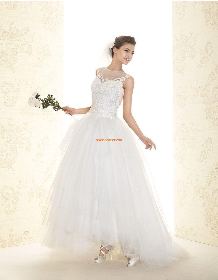 A-line Balayage / pinceau train Col U profond Robes de mariée 2015
