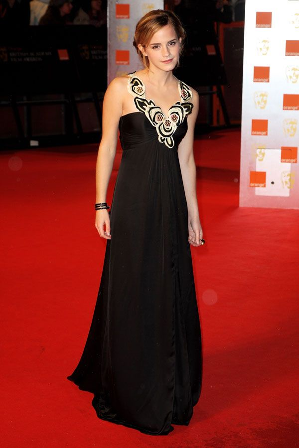 50 Of Emma Watson's Most Memorable Looks | Watson on the 2009 Orange British Academy Film Awards red carpet in London.
