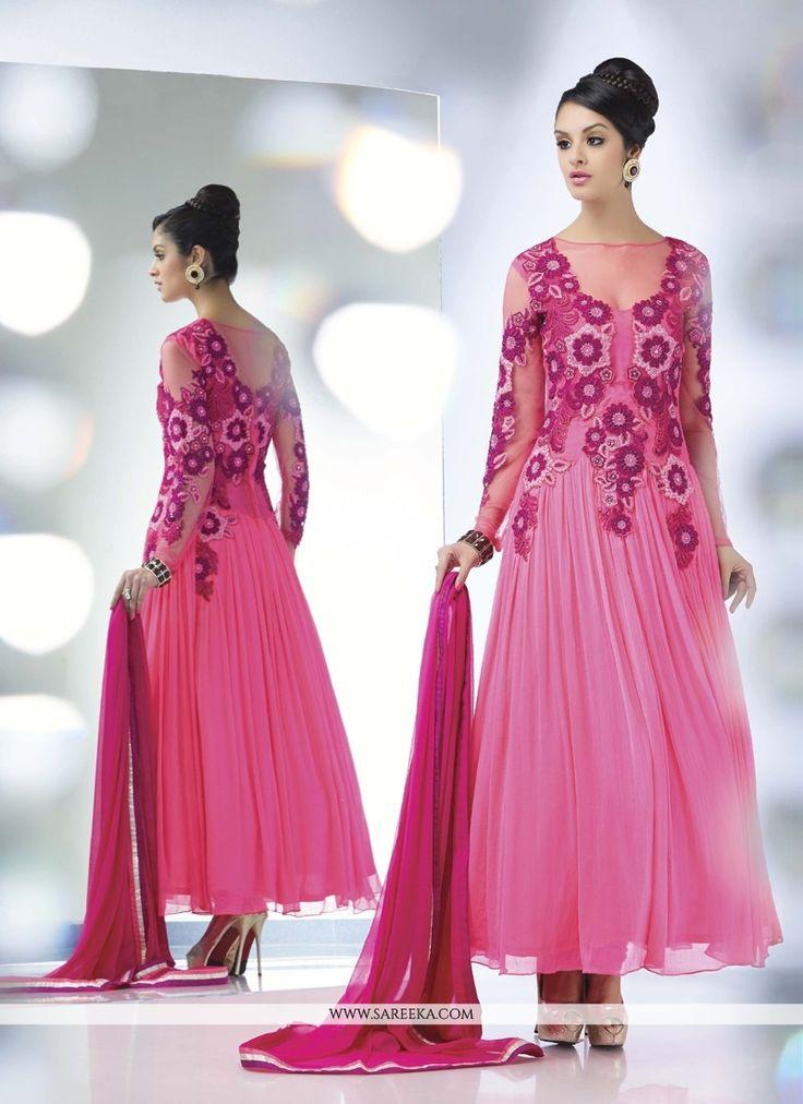 Rose Pink Resham Work Georgette Anarkali Suit