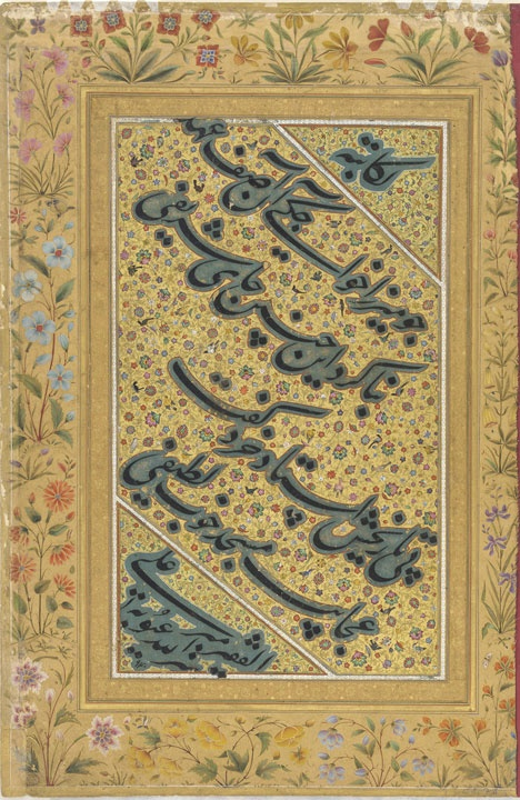 Mir Ali, also known as Mir Ali al-Husayni, was one of the Mughal's favorite calligraphers, and they continuously sought examples of his writing. This page comes from an album known as the Kevorkian album, named after the dealer responsible for its dispersal during the second quarter of the 20th century. The album appears to have been assembled for the Mughal emperor Shah Jahan (ruled 1628-1657).    Calligrapher: Mir Ali al-Husayni. Bukhara. 1533-1534 A.D. 38.8 x 25.7 cm. Nasta'liq script…