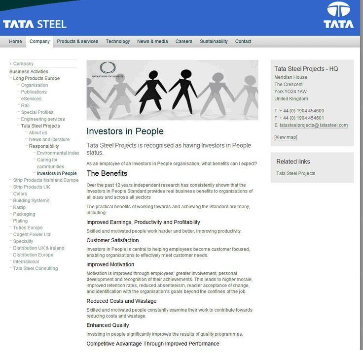 Tata Steel Projects is recognised as having Investors in People status