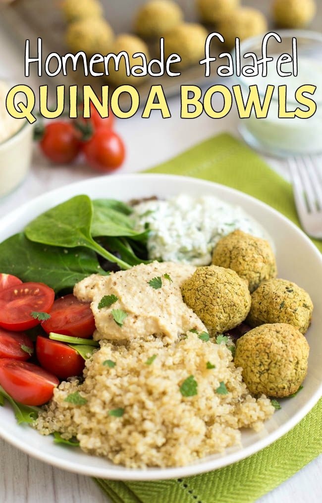 Homemade falafel quinoa bowls - a healthy, gluten-free, vegetarian dinner with homemade falafel, homemade hummus AND homemade tzatziki! Or you can use shop-bought if you prefer ;) (use vegan yogurt if needed!)