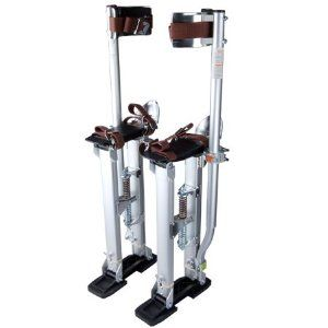 "Professional Adjustable 24"" to 40"" Painting Drywall Stilts Aluminum Silver w/ Straps Slip Resistant Rubber Soles for Sheetrock Taping Cleaning Ceiling Dry Walling by Generic. $114.88. With these pair of Brand New Drywall Stilts, you'll feel like an extension of the legs with practically natural movement of the feet. It creates greater balance, better control, more stability and less fatigue. Really a good way to save you from moving the ladder for many times! You ca..."