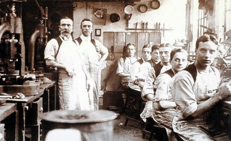 Workers at J W Evans Silversmiths in The Jewellery Quarter Birmingham