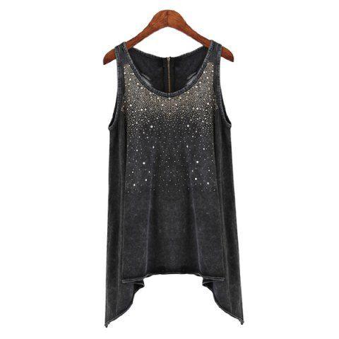 Europe Style Cut Out Beaded Scoop Neck Sleeveless Irregular Hem Denim Women's T-ShirtVintage T-shirts | RoseGal.com