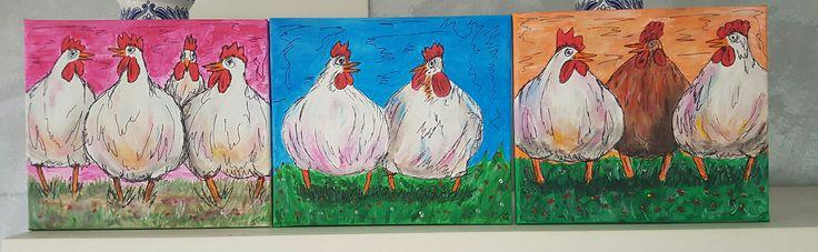 3 schilderijen kippen