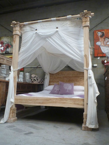 Balinese Hand Carved Recycled Teak Four Poster Bed Queen