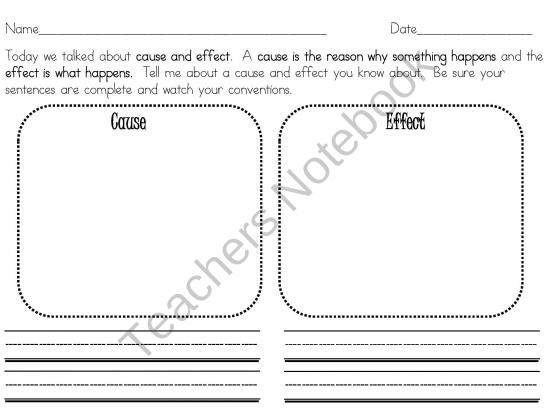 A great cause and effect worksheet for younger learners that defines cause and effect. in clear and understandable language.  This one paged worksheet includes primary lines and large drawing panels for K-3 students.