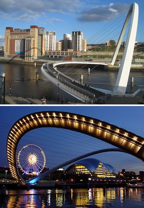 The Gateshead Millennium Bridge spanning the River Tyne in England opened in May of 2002 and is 410 ft (126 m) long