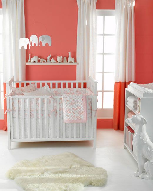 "Many friends are pregnant and I am slowly getting immersed in ""all things baby"" - that said, I've decided a gorgeous color scheme for a girl's nursery is coral and cream (though this pic is more white.)"
