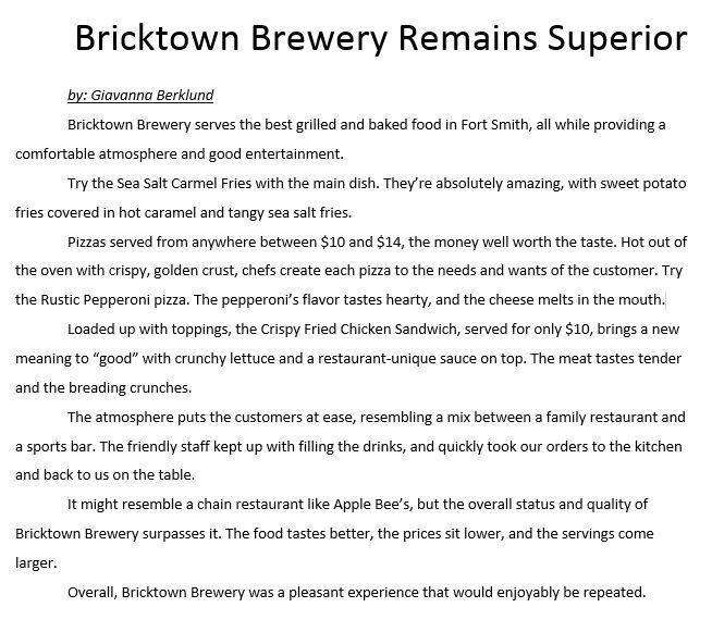 Review over local restaurant, Bricktown Brewery