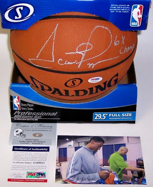 Scottie Pippen Autographed Hand Signed Official NBA Basketball - PSA/DNA