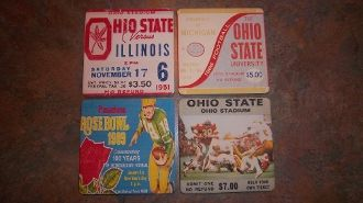Ohio State football ticket drink coasters made from authentic vintage game tickets. http://www.shop.47straightposters.com/Ohio-State-Football-Tickets-Ceramic-drink-coasters-OSUCoasters.htm
