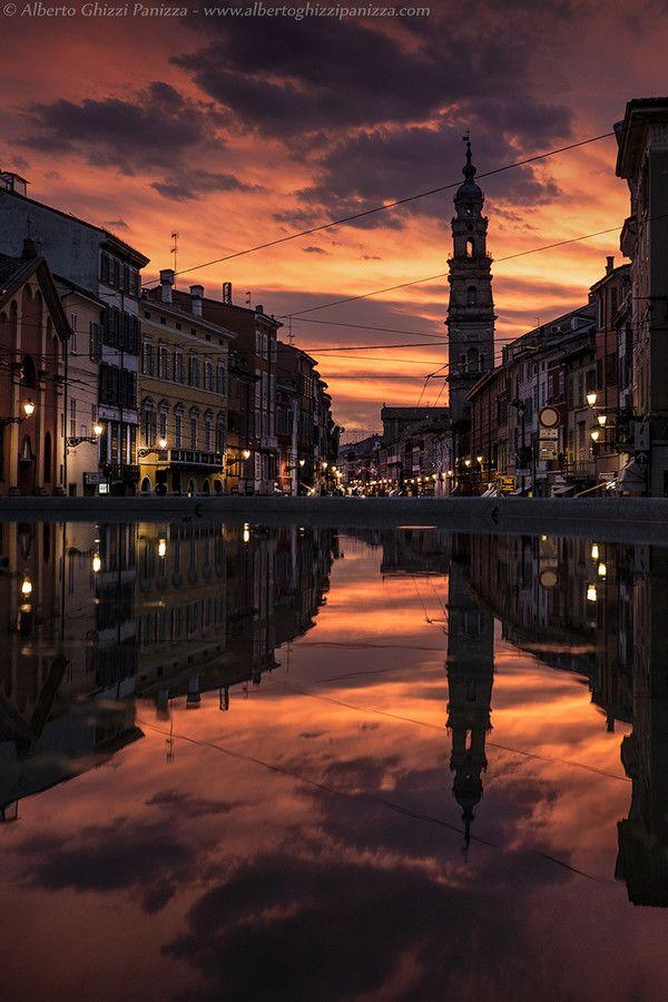 Flaming sunset over Parma, Emilia Romagna (Italy)