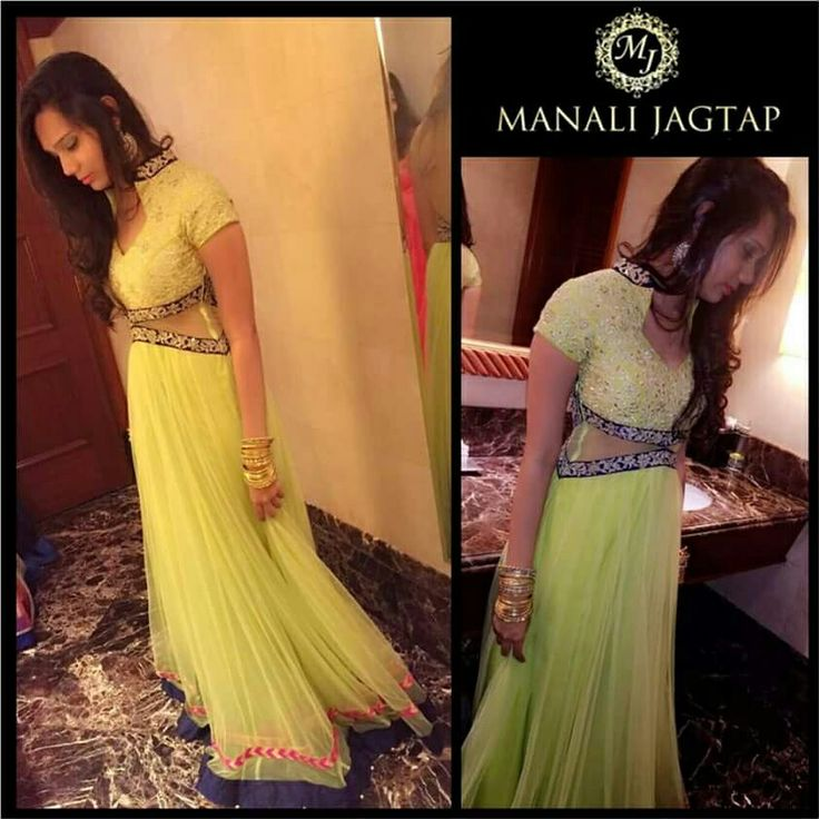 Beautiful Shivali Kadam wore MJ  Lime green floor lenth anarkali for her brother's roka :) #manalijagtap#manalijagtapshoor#floorlengthanarkali#roka#tradition